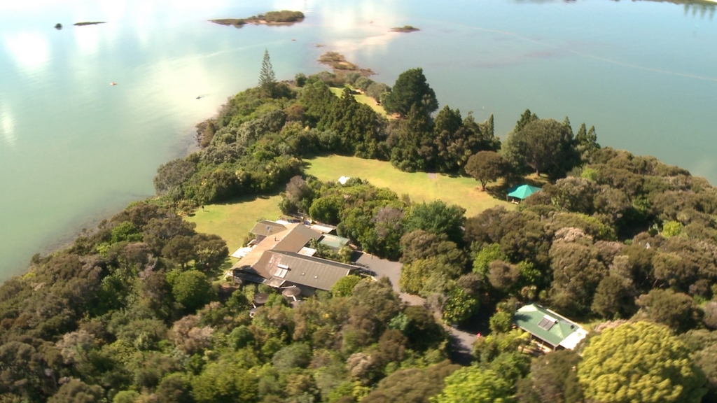Aerial Close up of Aroha Island
